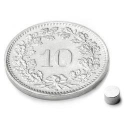 S-03-03-N, Disco magnético Ø 3 mm, alto 3 mm, neodimio, N45, niquelado