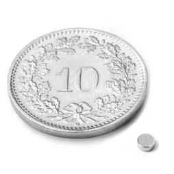 S-2.5-01-N52N, Disc magnet Ø 2.5 mm, height 1 mm, neodymium, N52, nickel-plated
