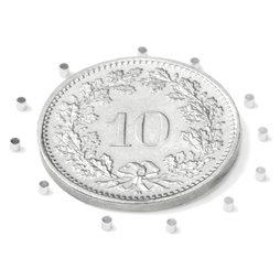 S-01-01-N, Disc magnet Ø 1 mm, height 1 mm, neodymium, N45, nickel-plated