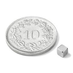 W-03-N, Würfelmagnet 3 mm, Neodym, N45, vernickelt