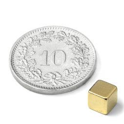 W-05-G, Cube magnet 5 mm, neodymium, N42, gold-plated