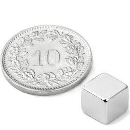 W-07-N, Cube magnétique 7 mm, néodyme, N42, nickelé