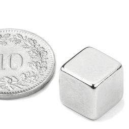 W-10-N, Würfelmagnet 10 mm, Neodym, N42, vernickelt