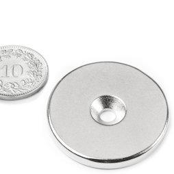 CS-S-34-04-N, Disque magnétique Ø 34 mm, hauteur 4 mm, avec trou de fixation biseauté, N35, nickelé