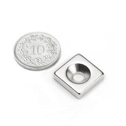 CS-Q-15-15-04-N, Parallelepipedo magnetico 15 x 15 x 4 mm, Con foro svasato, N35, nichelato