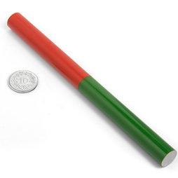 EDU-9, Staafmagneet rond, 150 x 12 mm, van AlNiCo5, rood-groen gemoffeld