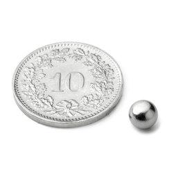 K-05-C, Kogelmagneet Ø 5 mm, neodymium, N42, verchroomd