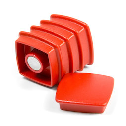 BX-SQ30/red, Boston Xtra viereckig, Set mit 5 Büromagneten Neodym, viereckig, rot