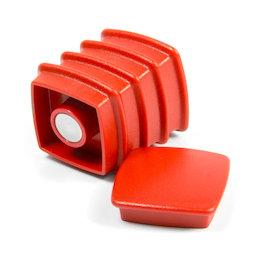 BX-SQ30/red, Boston Xtra vierkant, set met 5 kantoormagneten neodymium, vierkant, rood