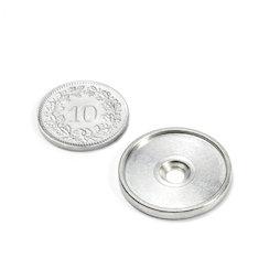 MSD-21, Disque métallique avec bord et trou fraisé M3, Diamètre intérieur 21 mm, contre-pièce pour aimants, non magnétique !