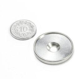 MSD-26, Disque métallique avec bord et trou fraisé M4, Diamètre intérieur 26 mm, contre-pièce pour aimants, non magnétique !