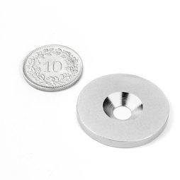 MD-27, Metalen schijfje met verzonken gat, Ø 27 mm, als tegenstuk voor magneten, geen magneet!