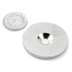MD-34, Metalen schijfje met verzonken gat, Ø 34 mm, als tegenstuk voor magneten, geen magneet!