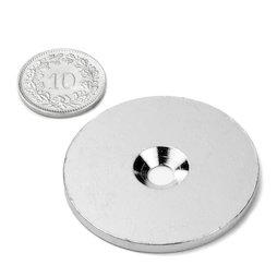 MD-42, Metalen schijf met verzonken gat, Ø 42 mm, als tegenstuk voor magneten, geen magneet!