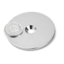 MD-50, Disque métallique avec trou fraisé, Ø 50 mm, contre-pièce pour aimants, non magnétique !