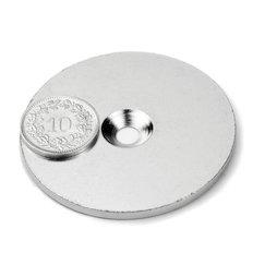 MD-52, Metalen schijf met verzonken gat, Ø 52 mm, als tegenstuk voor magneten, geen magneet!