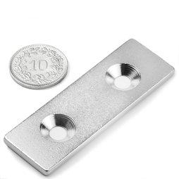 MC-60-20-03, Metalen plaatje met verzonken gat 60x20x3 mm, als tegenstuk voor magneten, geen magneet!