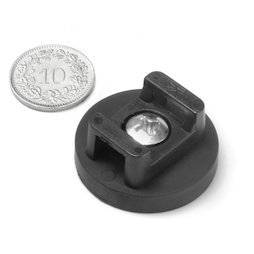 CMN-31, rubber coated pot magnet, for cable mounting, Ø 31 mm