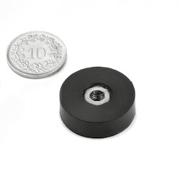 ITNG-16, rubberised pot magnet, with internal thread M4, Ø 20 mm