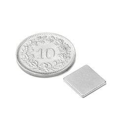 Q-10-10-01-N, Parallélépipède magnétique 10 x 10 x 1 mm, néodyme, N42, nickelé
