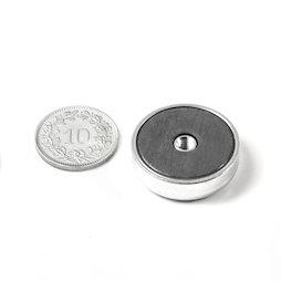 ITF-25, Magnete in ferrite con base in acciaio con filettatura interna M4, Ø 25 mm
