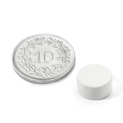 S-10-05-E/white, Farbe Weiss, Scheibenmagnet Ø 10 mm, Höhe 5 mm, Neodym, N42, Epoxidharz-beschichtet