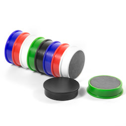M-OF-RD30/mixed, Tafelmagnete aus Ferrit, plastifiziert, 10er-Set, je 2x schwarz, weiss, blau, rot, grün