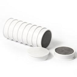 M-OF-RD30/white, Tafelmagnete aus Ferrit, plastifiziert, 10er-Set, weiss