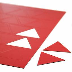 BA-014TR/red, Magnetsymbole Dreieck gross, für Whiteboards & Planungstafeln, 25 Symbole pro A4-Bogen, rot