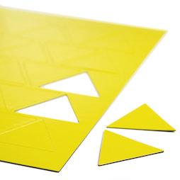 BA-014TR/yellow, Magnetsymbole Dreieck gross, für Whiteboards & Planungstafeln, 25 Symbole pro A4-Bogen, gelb