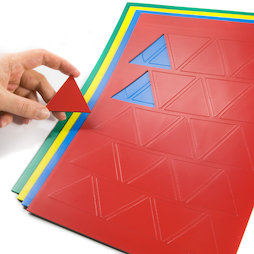 BA-014TR, Magnet symbols Triangle large, for whiteboards & planning boards, 25 symbols per A4 sheet, in different colours