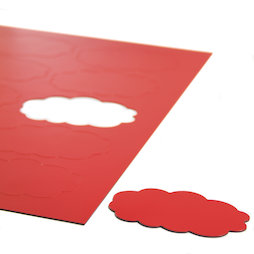 BA-014CL/red, Magnetsymbole Wolke, für Whiteboards & Planungstafeln, 10 Symbole pro A4-Bogen, rot