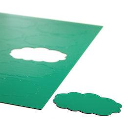 BA-014CL/green, Magnetsymbole Wolke, für Whiteboards & Planungstafeln, 10 Symbole pro A4-Bogen, grün