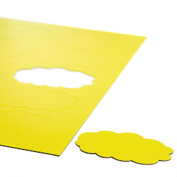 BA-014CL/yellow, Magnetsymbole Wolke, für Whiteboards & Planungstafeln, 10 Symbole pro A4-Bogen, gelb