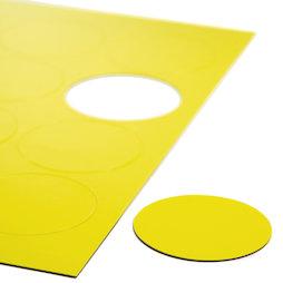BA-014CI/yellow, Symboles magnétiques rond grand, pour tableaux blancs & tableaux de planning, 12 symboles par feuille A4, jaune