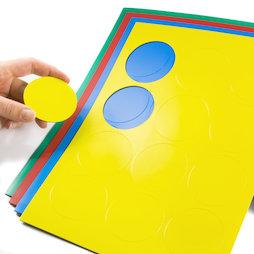 BA-014CI, Symboles magnétiques rond grand, pour tableaux blancs & tableaux de planning, 12 symboles par feuille A4, dans différentes couleurs
