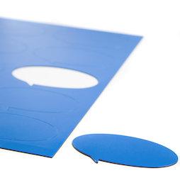 BA-014BO/blue, Magneetsymbolen tekstballon ovaal, voor whiteboards & planborden, 10 symbolen per A4-blad, blauw