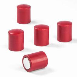 M-PC/red, Tafelmagnete zylindrisch, Neodym-Magnete mit Kunststoffkappe, Ø 14 mm, rot