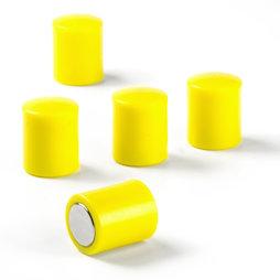 M-PC/yellow, Tafelmagnete zylindrisch, Neodym-Magnete mit Kunststoffkappe, Ø 14 mm, gelb