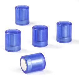M-PC/bluet, Tafelmagnete zylindrisch, Neodym-Magnete mit Kunststoffkappe, Ø 14 mm, transparent blau