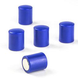 M-PC/blue, Tafelmagnete zylindrisch, Neodym-Magnete mit Kunststoffkappe, Ø 14 mm, blau