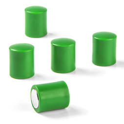 M-PC/green, Tafelmagnete zylindrisch, Neodym-Magnete mit Kunststoffkappe, Ø 14 mm, grün