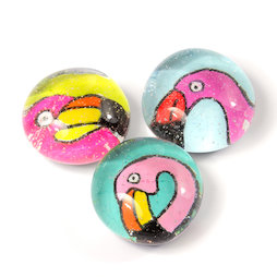 LIV-128/flamingo, Ufertiere, handgemachte Kühlschrankmagnete, 3er-Set, Flamingo