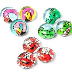 LIV-128, Shore animals, handmade fridge magnets, set of 3
