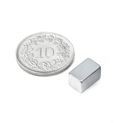 Q-10-06-06-Z, Quadermagnet 10 x 6 x 6 mm, Neodym, N45, verzinkt