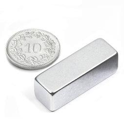 Q-30-10-10-Z, Parallélépipède magnétique 30 x 10 x 10 mm, néodyme, N40, zingué