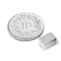 Q-08-05-05-Z, Bloque magnético 8 x 5 x 5 mm, neodimio, N45, galvanizado