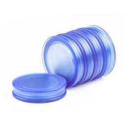 M-OF-BRD25/blue, Tafelmagnete rund, Neodym-Magnete mit Kunststoffkappe, beidseitig haftend, transparent blau