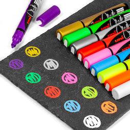 BA-021, Kreidemarker, für Glasmagnettafeln und Whiteboards, in verschiedenen Farben, 4er-Set