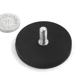 GTNG-43, aimant en pot caoutchouté avec goupille filetée, Ø 43 mm, pas de vis M6